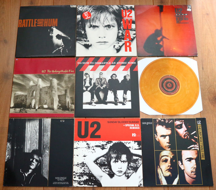 U2- Great lot of 5 lp's (of which one double!) & 3 maxi's: All early work including Rattle And Hum, War & How To Dismantle An Atomic Bomb (on YELLOW wax w. booklet!)