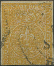 Parma 1853/55 –  5 cent. Orange-yellow - Sassone catalogue no. 6