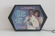 "Vintage Colt 45 Malt Liquor Light box with Billy Dee Williams (rare ""white suit"" version) - 1970s"