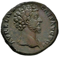 Roman Empire - Marcus Aurelius caesar (139 - 161 A.D.), bronze sestertius (22,00 g. 31 mm), from Rome mint. 152-153 A.D. VIRTVS COS II. Virtus.