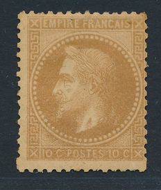 France 1867/1872 - 10 Cent Bistre type I and Colony Napoléon III 1 c Vert-Olive - Yvert 28A and colony n° 7