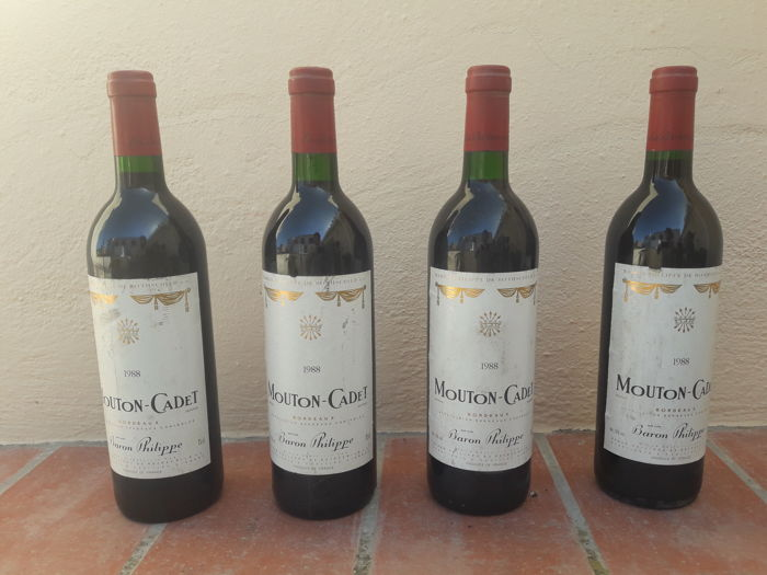 1988 Mouton Cadet, Bordeaux, France, Baron Philippe - 4 bottles of red wine