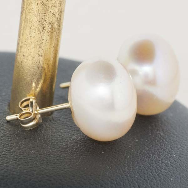 Gold 18 kt Earrings of peach cultured Pearls - 12 mm - *** no reserve***