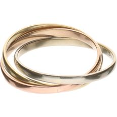14 kt - Tricolour yellow/white/rose gold ring - Ring size: 17.5 mm