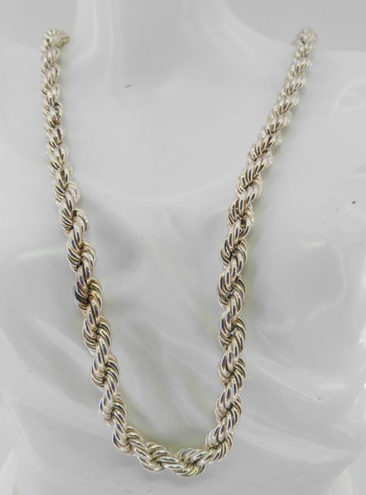 925 silver twisted cord, 8 mm thick – Length: 60 cm – Weight: 47.80 g