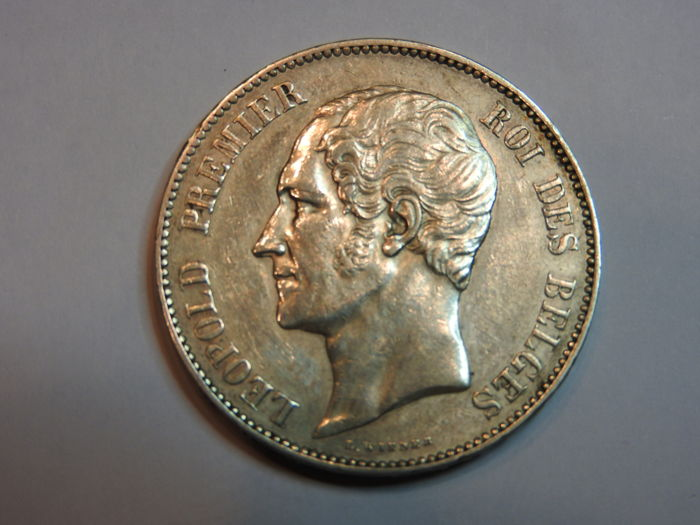 Belgium - 5 Francs 1858 Leopold I Bareheaded - silver