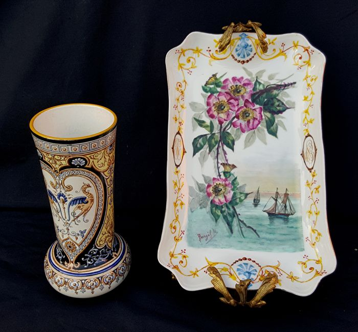 Sarreguemines U & C Jardinier Dec. 729 - CFM GDM - Two French ceramic and porcelain artworks