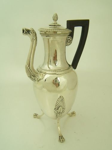 Coffee pot, 950 silver, Paris ca. 1800, marked with a Parisian guarantee marker