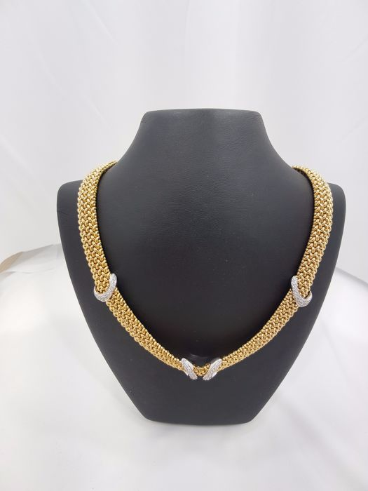 18ct Yellow Gold Mesh Link Necklace with Diamonds (Ladies)