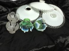 Four antique white opaline glass lamp shades, and two pairs of graceful tulip-shaped caps - ca. 1900 - 1920