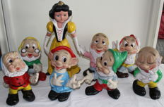 Disney, Walt - 8 Dolls Ledraplastic - Snow White and the 7 Dwarfs (1960s/'70s)