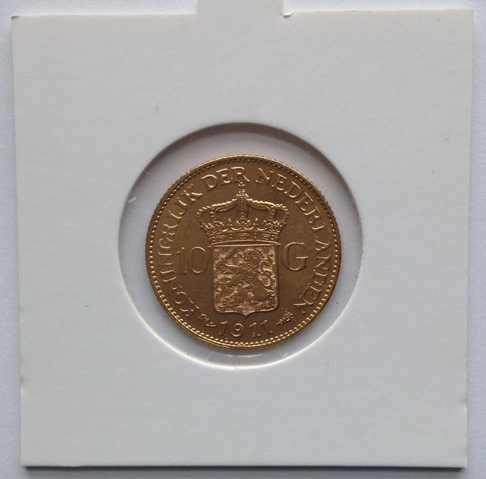 The Netherlands – 10 guilders coin, 1911, Wilhelmina – gold