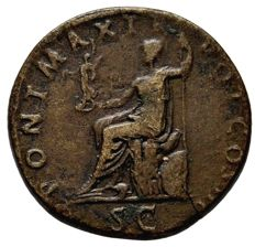 Roman Empire - Hadrian (117 - 138 A.D.), orichalcum sestertius (26,45 g. 32 mm.), from Rome mint, 119-121 A.D. PONT MAX TR POT COS III. Jupiter seated