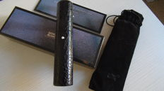 Leather Pouch Crocodile Style Black
