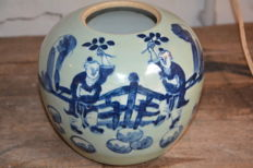 Fine blue white Celadon jar with playing boys - China - late 19th century