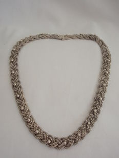 Silver braided Venetian necklace, 46 cm, 12.5 mm, 47.1 g