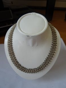 Antique silver necklace with box clasp and safety chain