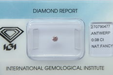 Natural Fancy Brownish Pink Diamond 0.08 ct  with IGI cert *** no minimum price***