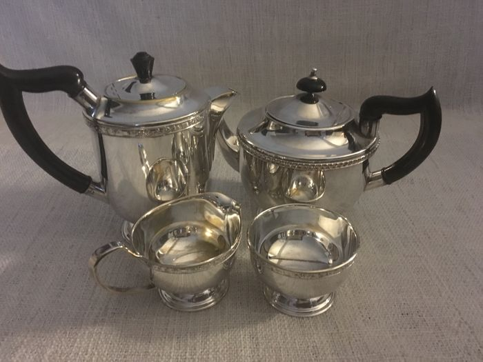"Vintage silver plated set of four (4) tea set , tea pot coffee pot , milk jug and sugar bowl ""Viners of Sheffield "" ENGLAND second half of 19th century"