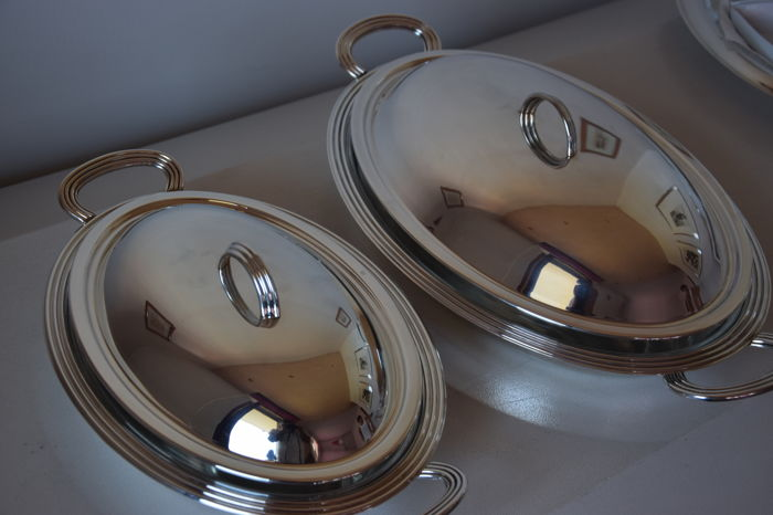 JOB ART - pair of casserole dishes for serving, silver plated