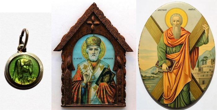 Old silver pendant, a small home altar and a large tin icon