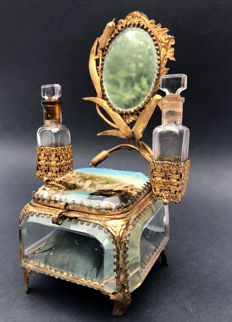 Jewellery box with cut glass with facets, frame with perfume bottles and mirror, France, late 19th century