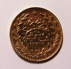 Turkey – 25 Kurush AH1336 (1917) Year 3 Muhammad VI – gold
