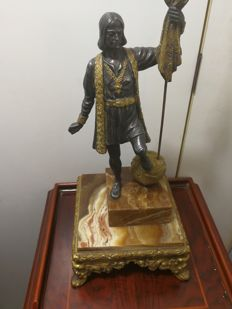 Figure of bronze and onyx representing Christopher Columbus - beginning of 20th century