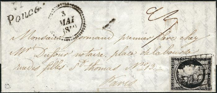 France 1850 - 20 centimes black on white on a letter with cursive and B date stamp. Very rare composition, signed Roumet with certificate - Yvert 3