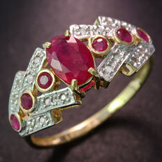 14K Yellow Gold Ring  -  ruby - size us 7.5