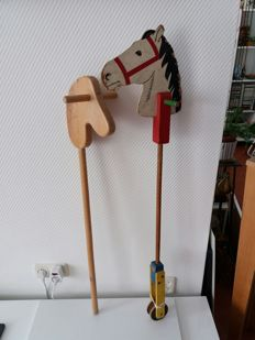 Wooden Hobby Horse on 2 Wooden Wheels - Toys