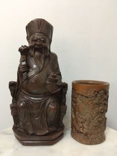 2 Bamboo piece, 1 Seated God of Wealth and 1 Brush pot - China - second half 20th century