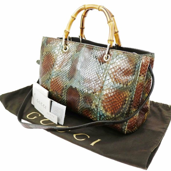 Gucci - Snakeskin hand bag with bamboo handles