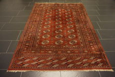 Hand-knotted Persian carpet, Yomut, Bukhara, silk shine, 175 x235 cm