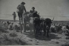 "Rosa Bonheur (1822-1899) - Signed in pencil - Dated 1891 -  ""Les laboureurs aux champs en 1891"""
