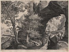 Pieter Stevens II ( 1567- 1624 ) engraved by  Aegidius Sadeler (1570-1629 ) - Landscape with pierced rock. - Ca. 1600