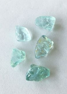 Lot of natural aquamarine - 51.29 ct (5)
