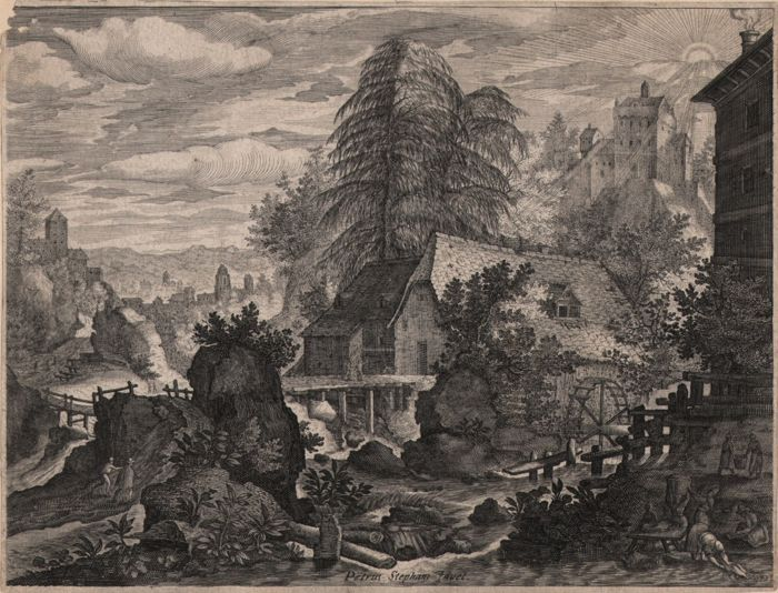 Aegidius Sadeler ( 1570-1629 ) -  Landscape with Watermill ( Bohemian landscapes )