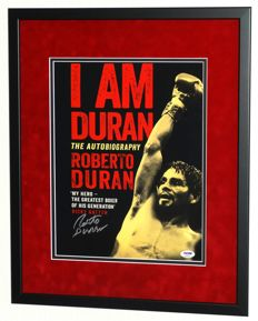 Roberto Duran original signed photo - Premium Framed + Certificate of Authenticity