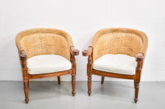A pair of colonial style  armchairs, late 20th century