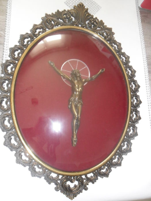 Antique frame, bronze corpus -Jesus christ, Italy-19th century