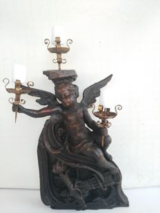 Norway spruce angel with three wrought iron candle holders - Italy, ca. 1900