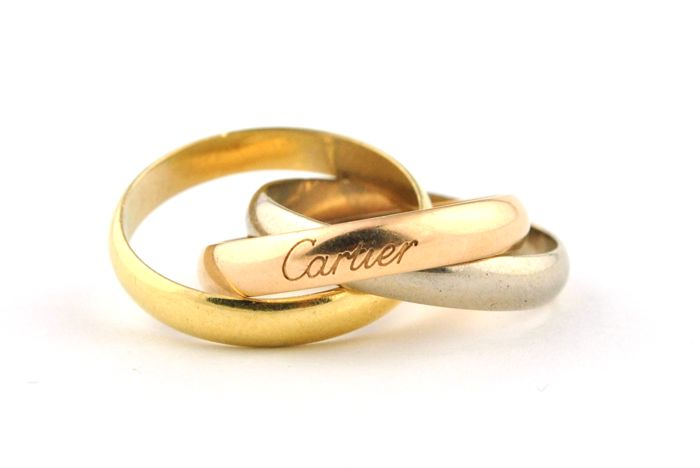 CARTIER Trinity Tricolor Ring made of 750/18k Yellow, Pink & White Gold with Official Cartier Certificate - E.U Size 53