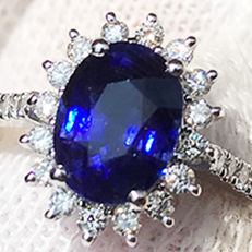 1.77ct Sapphire and Diamond ring made of 18 kt white gold -  NO RESERVE -