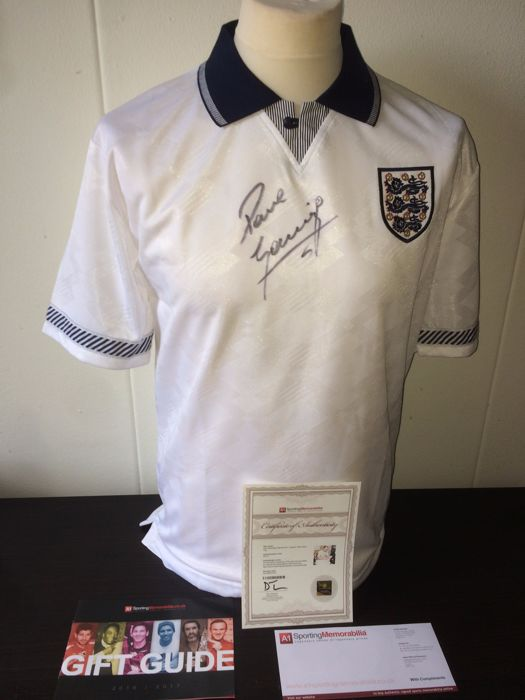 Paul Gascoigne - Hand Signed England World Cup 1990 shirt + COA inc. Photoproof.
