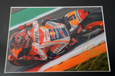 Nice framed image, personally signed by Marc Marquez