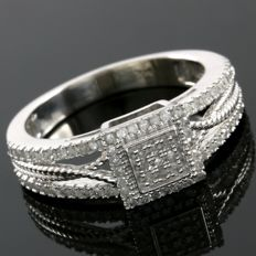 14kt White Gold Ring Set With 0.37 ct Natural Diamonds - 6.75