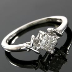 14kt White Gold Ring Set With 0.15 ct Natural Diamonds - 7  - No reserve