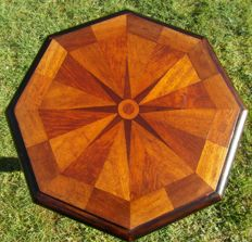A late Biedermeier mahogany and fruit wood parquet side table - Germany - circa 1835/1840