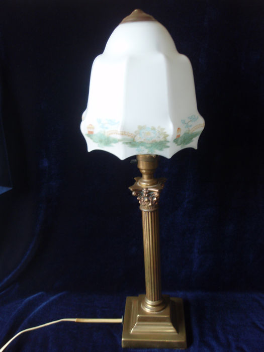Antique English Table Lamp On Brass Base With Frosted Glass Shade